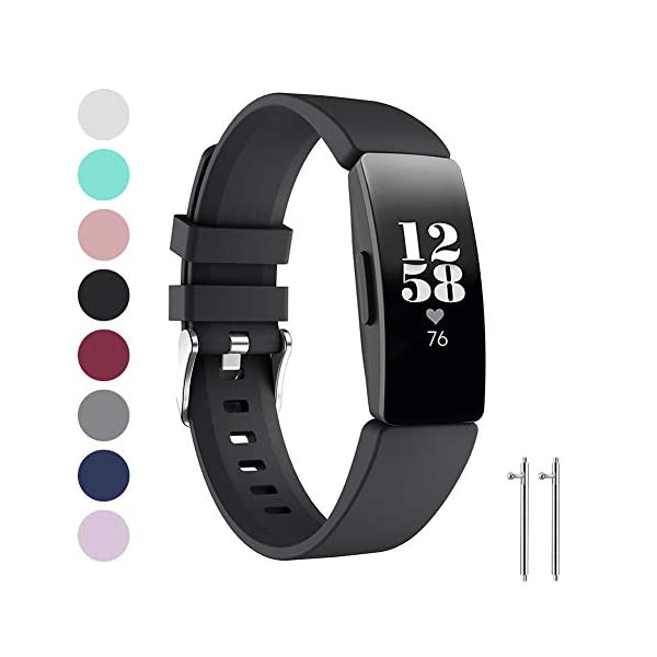 Ownest Compatible con Fitbit Inspire& Inspire HR Fitness Tracker Banda, Ajustable Suave Silicona Mujeres Hombres Correa… 1