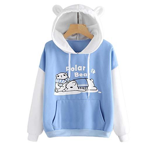 Hingpy Damen Bluse Langarm Sweatshirt Eisbär Print Känguru Tasche Hoodie -