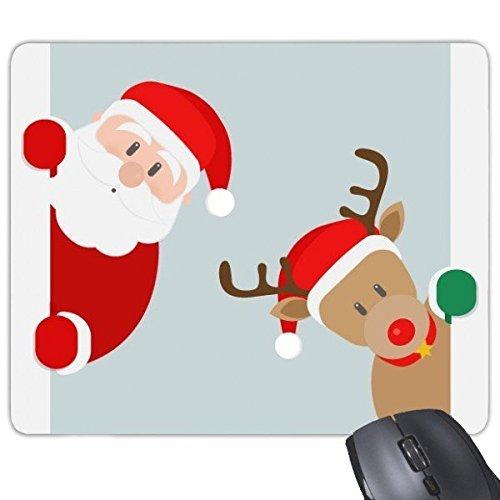 Weihnachten Santa Claus Elk Peep Merry Christmas Happy New Year Festival Illustration Muster Rechteck rutschfeste Gummi Mauspad Spiel Maus Pad (Spiel Peep)