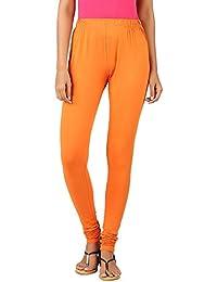 Newrie Solid Orange Cotton Elastane Churidar For Women