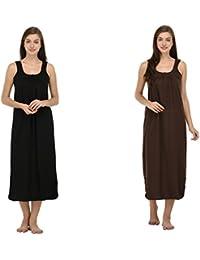 Ishita Fashions Cotton Gown Slip - Cotton Nighty - 2 PCs - Black and Coffee Brown