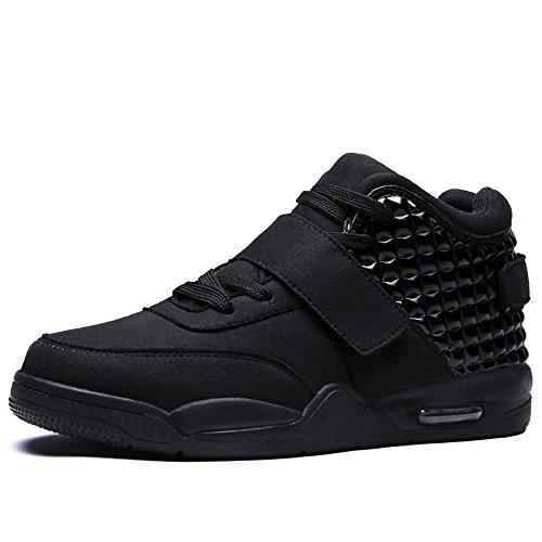 FZUU Männer Hochwertiger Sneaker Basketball Schuh Atmungsaktiv Herren Verschleißfeste Dämpfung Sportschuhe (44, Schwarz)