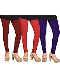 CAY 100% Cotton Combo of Purple, Red and Maroon Color Plain, Stylish & Most Comfortable Leggings For Girls & Women with Full Length (SIZE : Free Size)