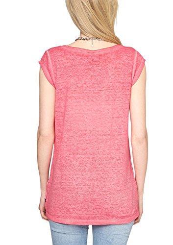 S.Oliver Denim 503 2063 - T-shirt - Uni - Col ras du cou - Manches courtes - Femme Violet (Raspberry 4512)