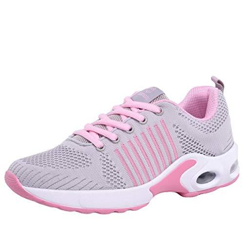 Meilily Damen Leicht Air Schuhe Laufschuhe Mesh Atmungsaktive Sportschuhe Sneaker Männer Turnschuhe Damen Schuhe Einfach Heiß Sport Fitnessschuhe Jogging Trainer Running Gym Outdoor Schwarz Rosa -