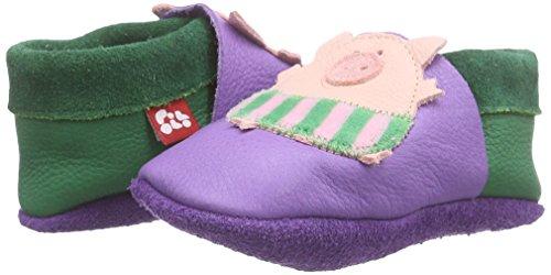 Pololo Pololo Schweinchen, Chaussons courts, non doublées mixte enfant Violet - Violett (lilac 524)