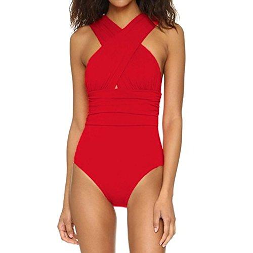 J Crew Trainingshose (Minetom Damen Sommer Sexy Badeanzug Mit X-Form Ausschnitt Bauchweg Monokini One-piece Groß Größe Schwimmanzug Bademode Rot DE 34)
