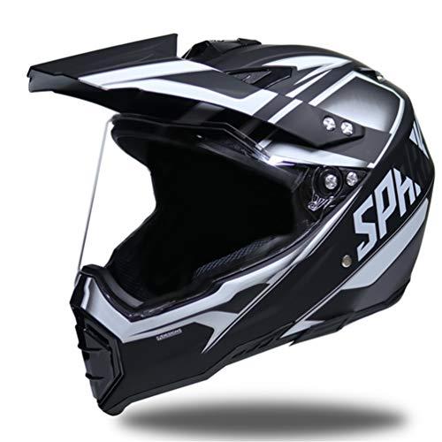Casco moto fuoristrada integrale, casco anti-UV adulto per motociclisti, protezioni per moto motorcross 55-62cm