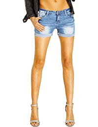 Bestyledberlin Basic Damen Hotpants, stretchige Baumwoll Jeans Shorts, Kurze Denim Hosen umgekrempelt j36i