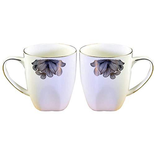 GOOHO Kaffeetasse 2 Stück Set Exquisite Blumenmuster Kreative Becher Bone China Wasser Tasse Business Office Tee Tasse, Romantisches Geschenk, Paar Wasser Tasse