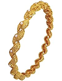 Peora Traditional Jewellery Gold Plated Curvy Bangle For Women And Girls