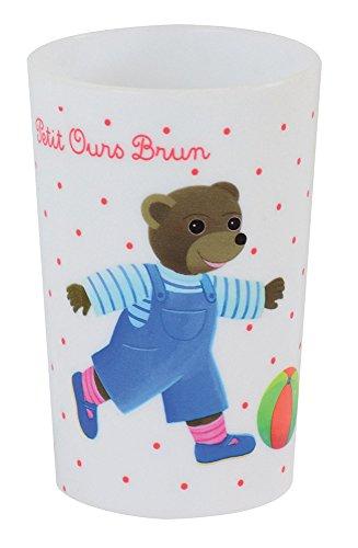 FUN HOUSE 005443 Petit Ours Brun Verre pour Enfant, Polypropylène, Blanc, 10 x 0,03 x 6,5 cm