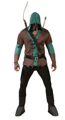 Da Uomo 5 Pezzi Scuro Arciere Robin Hood Costume Halloween Outfit Taglia Large