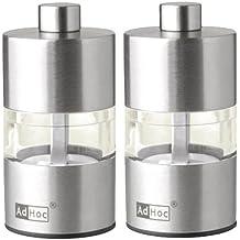 ADHOC MP31 Set Mini Pfeffer- und Salzmühle, Edelstahl, 6,2 cm