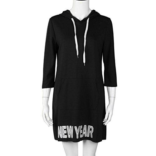 Koly_Vestitino con cappuccio Sport casuale allentato delle donne Nero