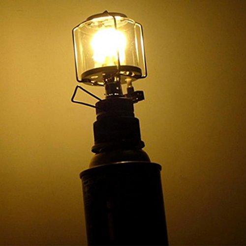 Lampe-glas-schornsteine (WEIWEITOE-DE Mini 80LUX Outdoor Camping Laterne Tragbare Aluminium Gas Licht Zelt Lampe Taschenlampe Hängen Glas Lampe Schornstein Butan für Reise, klar + Silber,)