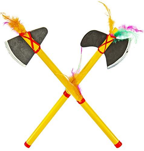 Nick and Ben Indianer Set Axt Beil Tomahawk Kinder Spielzeug Waffe Kinder Halloween Karneval Fasching Indianerkostüm Zubehör Doppelpack 2 Stück