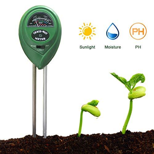 Palm-ph-meter (Rziioo Boden-PH-Meter, Bodenfeuchtigkeitsmesser, Gartenlichttester 3-in-1-Bodentester-Kit - Keine Batterie erforderlich (2 Stück))