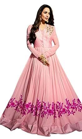 OM FASHION fancy dress fashion women's new pink viscose semi stitched anarkali salwar suit