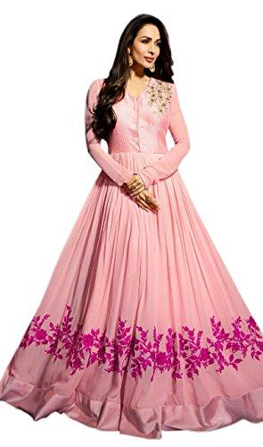 OM FASHION fancy dress fashion women\'s new pink viscose semi stitched anarkali salwar suit