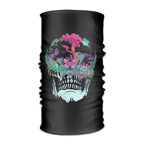 Skull Flower Pattern Headwear For Men And Women-Yoga Sports Travel Workout Wide Headbands,Neck Gaiter,Bandana,Helmet Liner,Balaclava,Hair Turban,Scarf