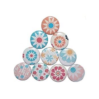 Magnetset Magnet Set Kühlschrankmagnet Größe: 50mm rund 10 Stück Motiv: Muster Blumen