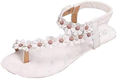 Culater Sandalias mujer planas Verano Bohemia dulce con cuentas clip dedo Zapatos de playa