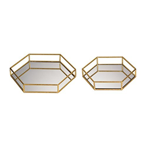2-Pc Mirrored Hexagonal Tray Set by Sterling Industries -