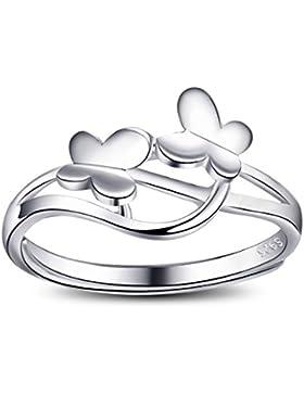 QUKE Damen 925 Sterling Silber 3D Schmetterling Design Verstellbare Hypoallergene Ring Mädchen Modeschmuck