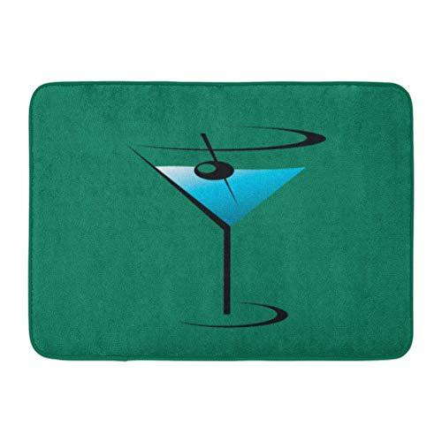 Kinhevao Benutzerdefinierte Fußmatten Martini Glas Cocktail Home Fußmatten Eingangsmatte Boden Teppich Innen/Außen/Haustür/Bad Matten Gummi rutschfeste Badematte Badematte