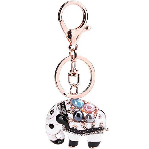 Wuxingqing Keychian Geschenk Elefant Keychain natürlichen Kristall Stein Keychain Charm Halskette Form Kristall Strass Keychain Keychain Dekoration Ring-Auto-Schlüsselanhänger