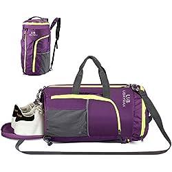 32L Bolsas de Deporte con Compartimento de Zapatos,Bolsas de Gimnasia Impermeable,Bolso de Viaje Fin de Semana,Travel Duffle Bag para Hombre/Mujer,Bolso Bandolera para Natación/Surf/Viajar (Púrpura-1)