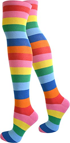 normani Damen Overknees Geringelt, Blickdicht mit vielen Farbmustern Farbe Bunt