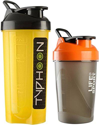 Combo Of 2 (700ml + 500ml) Black Typhoon + Orange Life Is A Sport Shaker Bottle, Protein Shaker / Sipper / Gym Bottle / Water Bottle / Good Quality Shaker Bottle For Both Men's / Women's / Boy's / Girl's (700 Ml + 500ml) Shaker, Bottle, Sipper Pack Of 2 (
