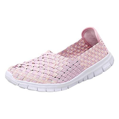 B-COMMERCE Womens Summer Flat Mit Gewebten, Atmungsaktiven Schuhen Und Gewebten, LäSsigen Turnschuhen Moc Womens Slip
