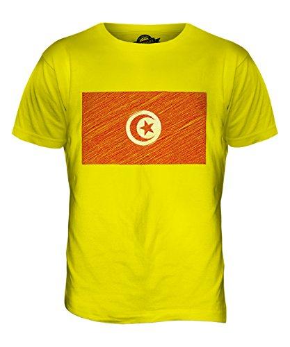 CandyMix Tunesien Kritzelte Flagge Herren T Shirt Zitronengelb