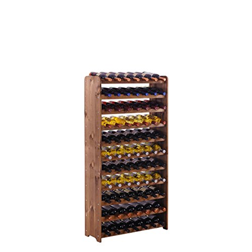 """Weinregal/Flaschenregal System\""""Optiplus\"""" Modell 4, für 77 Fl, Holzverbundstoff, braun gebeizt"""