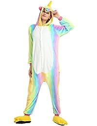 heekpek Pijama Animal Unicornio Entero Unisex para Adultos con Capucha Ropa de Dormir Traje de Disfraz