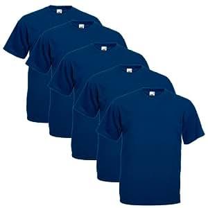 Fruit of the Loom Herren T-Shirt 5 er PackRegular Fit 11182V XXL,Blau - Navy
