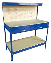 WestWood New Blue Steel Garage Tool Box Toolbox Work Bench Workbench Storage With Drawers Pegboard and 12 Pegs Shelf DIY Workshop Station
