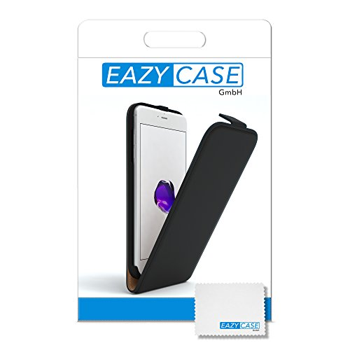 iPhone 8+ Hülle / iPhone 7+ Hülle - EAZY CASE Premium Flip Case Klapphülle für Apple iPhone 7 Plus & iPhone 8 Plus - Edle Schutzhülle aus Leder mit Magnetverschluss in Lila Schwarz