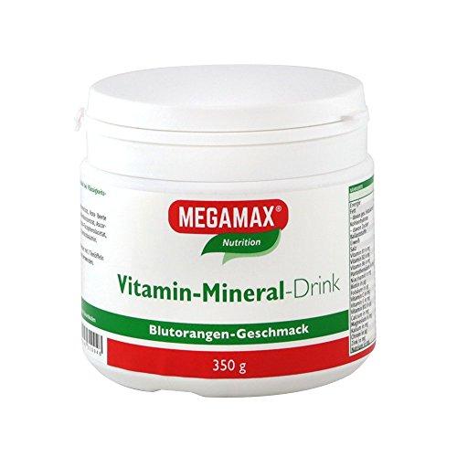 Megamax Vitamin Mineral Drink Blutorange , isotones Sportgetränk. Inhalt 350 g Pulver (ergibt 10 Liter fertiges Getränk)