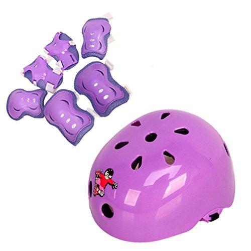 MAJOZ Protektoren Set, 7er Set Kinder Sport Schutzausrüstung Helm Knieschutz für Eislaufen,Reiten ab 6-14 Jahre