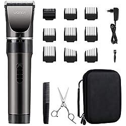 WONER HC-818B Tondeuse Cheveux Barbe pour Homme Père Mari Enfant Professionnelle Kit Famille Ultra Silencieux sans Fil Batterie Rechargeable Li-ion 2000mAh