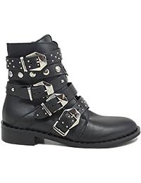 Personal Shoepper Stivaletti Texani Neri Cinturini Borchie e Fibbie Donna  0237 Nero Vera Pelle Made in 3705f8b58cc
