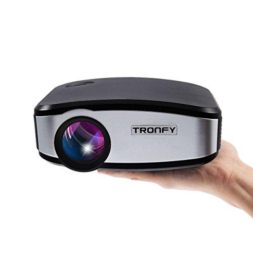 Upgrade Mini LED Beamer Tragbarer Projektor Tronfy® 800 Lumen 800*480 Auflösung Keystone Korrektur Fernbedienung HDMI USB AV SD VGA ATV MHL und AUX Anschlüsse für Heimkino Familienentertainment Filmabend Kids Learning