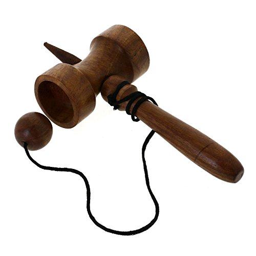 Jumbo kendama legno naturale - kendama tazza d'archi e giocattolo di legno palla - riflessiva giocattolo bersaglio gioco - 5.1 x 17.8 x 8.9 cm