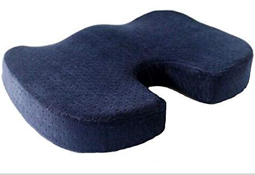 Cojín ortopédico de espuma viscoelástica Coccyx para asiento – ayuda con dolor de espalda de ciática – perfecto para tu silla de oficina y sentarse en el suelo da alivio del dolor de hueso de cola, color azul