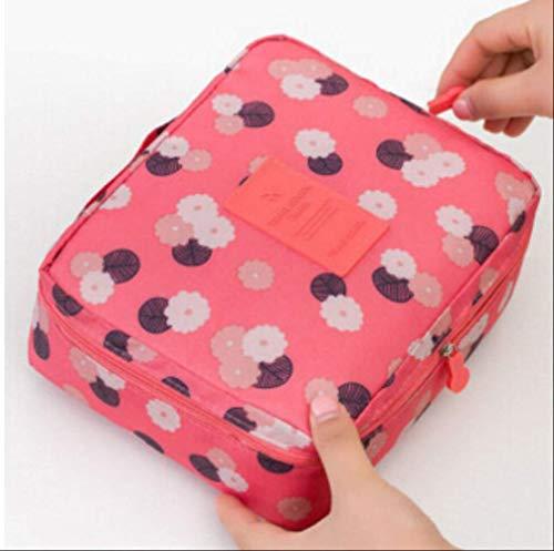 HZB Kosmetiktasche Frauen Wash Toiletry Make Up Aufbewahrungstasche Travel Kit BagPink Floral -