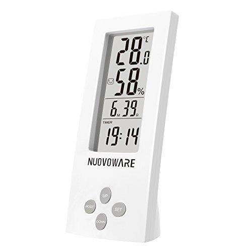 Nuovoware Wetterstation, Desktop All-in-One Hochpräzise Digital Instant Lesen Hygro-Thermometer Timer, Temperatur und Feuchtigkeit Meter mit transparenten LCD-Display, weiß